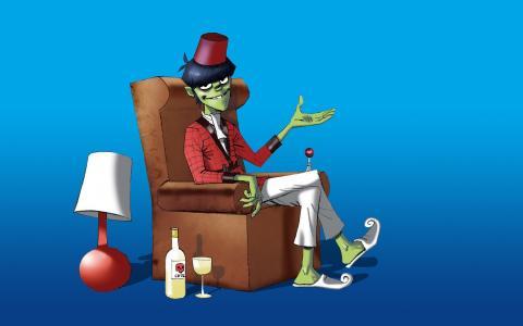 僵尸坐在椅子上,卡通