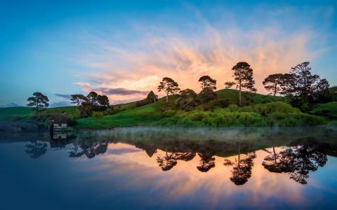 多彩的黎明在新西兰