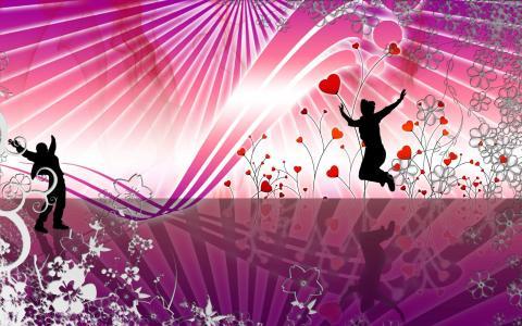 夫妇跳舞抽象舞蹈