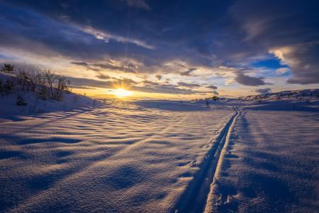 美丽的冬天景观在多云的天空下