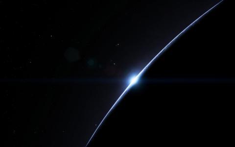月蚀的钻石戒指在太空中
