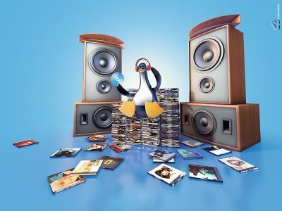 企鹅听音乐