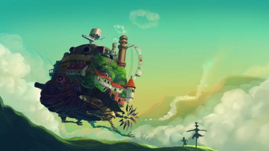 动漫漫画走路的城堡