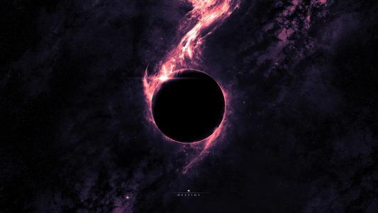 在紫色光环的黑洞