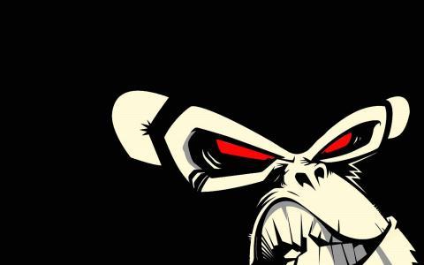 邪恶的猴子,黑色的背景