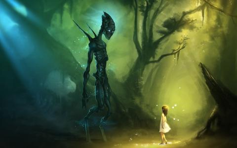 那女孩在森林里遇到了一个陌生人