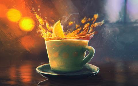 一片橘子落入杯中,画画