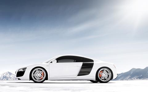 白色的车奥迪R8 V10