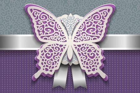 与白色,3d图表的紫色蝴蝶