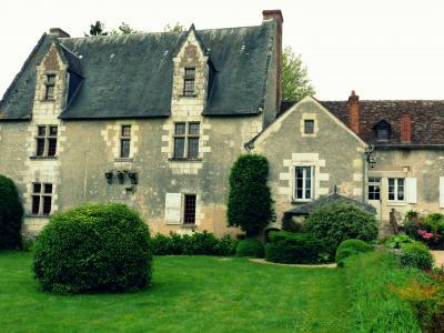 由城堡的绿色草地在法国卢瓦尔河