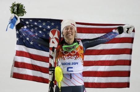 美国滑雪者Mikaela Shiffrin在奥运会在索契