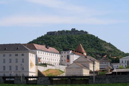 在一座小山的背景中,在海因堡,奥地利镇的房子