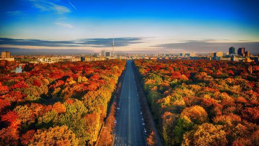秋天高速公路柏林,德国