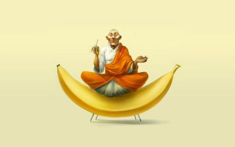 佛教坐在一根香蕉上