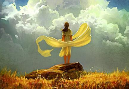 那女孩正站在一块石头上