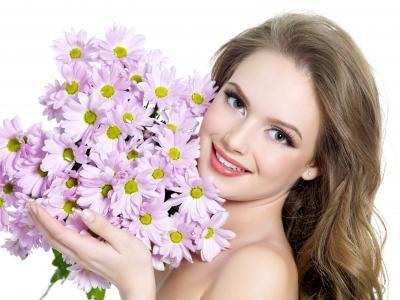 微笑,脸,洋甘菊,雏菊花束,魅力四射