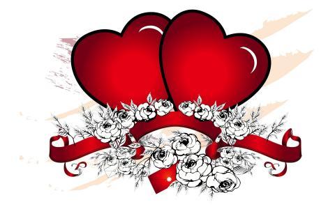 两颗红色的心