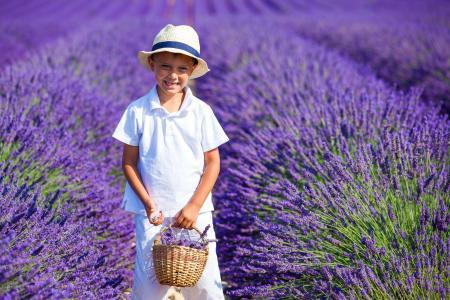 微笑的紫色薰衣草的字段上的男孩