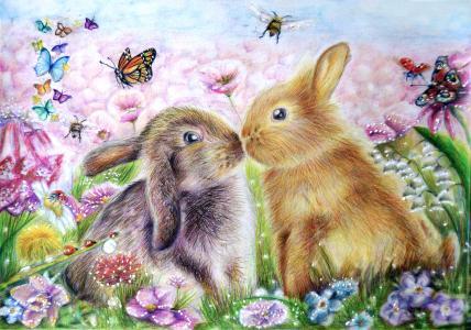 两只涂了兔子的蝴蝶