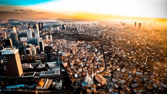 伊斯坦布尔市的全景