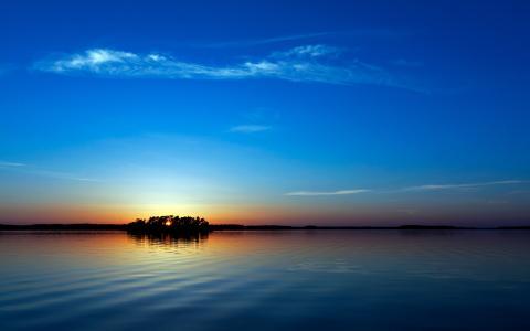蓝色的日落