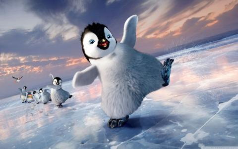 卡通的企鹅