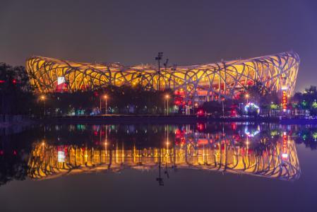 北京城市地标鸟巢风光