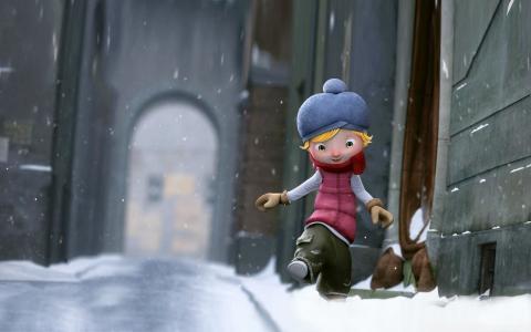 那女孩正在雪地上漫步