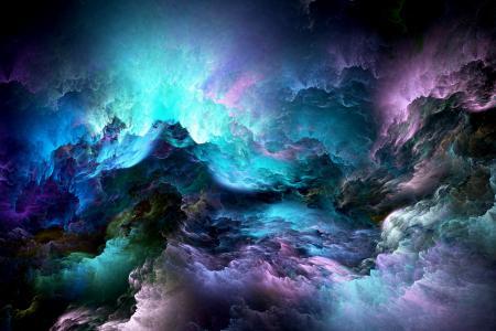 蓝色血浆的云彩,抽象
