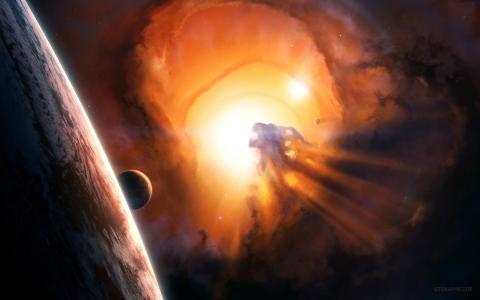 行星系统中一颗恒星的爆发