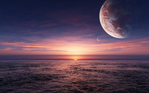 在天空中的行星在日落在海洋中