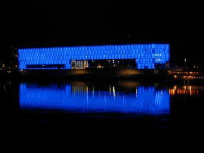 发光的建筑在奥地利林茨市