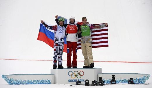 索契奥运会滑雪板纪律尼古拉奥利宁(Nikolai Olyunin)银牌获得者