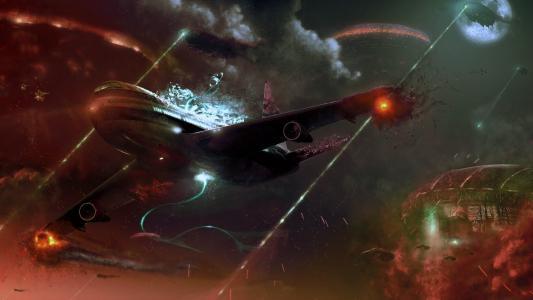 飞机撞击激光
