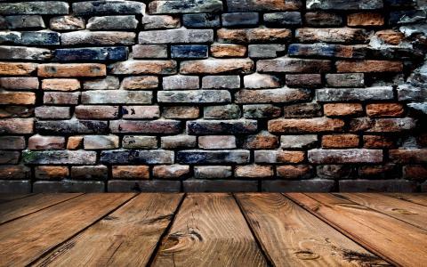 木地板,砖墙