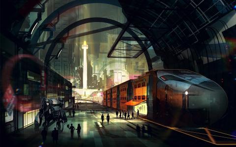 机器人在未来城市的车站平台上