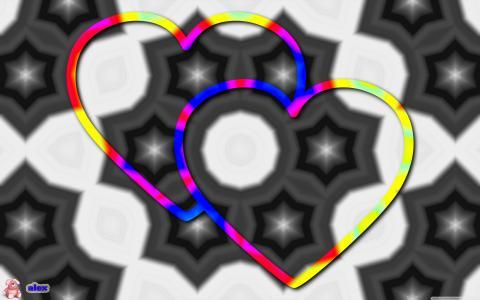抽象,两颗心,两个