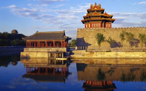 在中国的水之间的寺庙