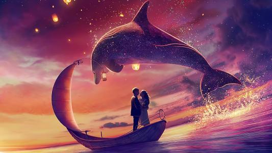 唯美浪漫的甜蜜时刻手绘