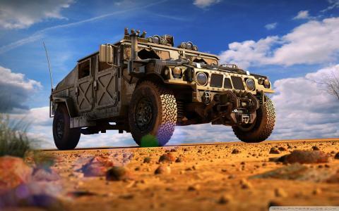 在沙漠中的军事锤子