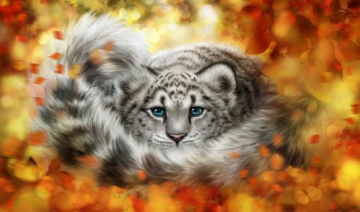 年轻的雪豹在黄色的叶子,绘图