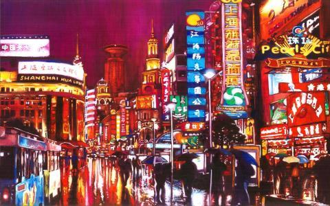 上海的城市在画家的绘画