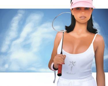 戴着球拍的棒球帽的女孩