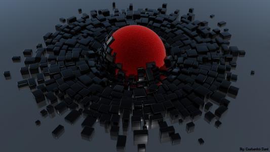 红球和黑色的立方体