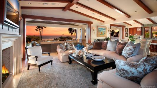 客厅里的一个热带岛屿上的房子