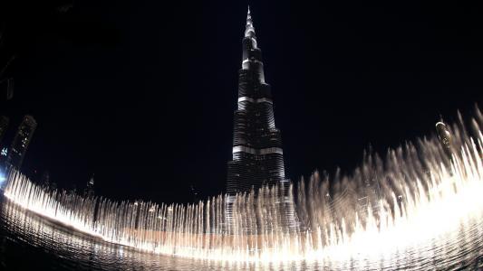 在迪拜的喷泉