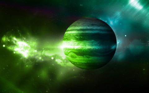 木星附近的绿色等离子体