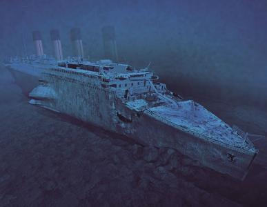 泰坦尼克号的碎片在底部