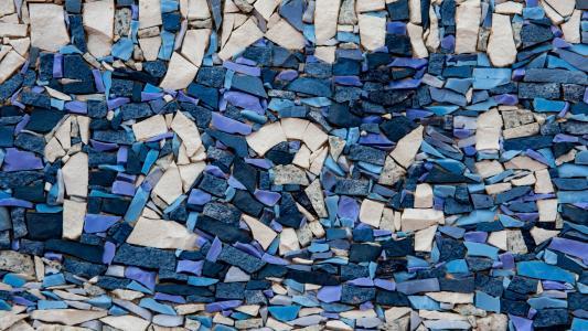 五彩石块拼装艺术墙