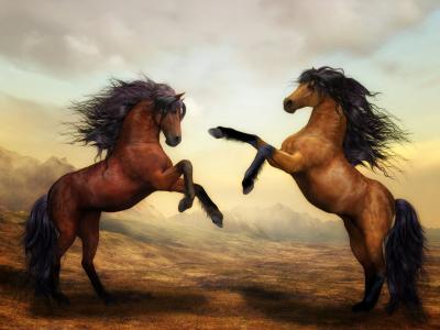 两个美丽的彩绘的马